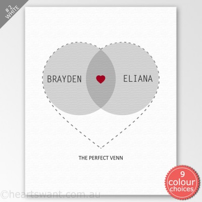 Venn Love Couple Personalised Canvas Art - White
