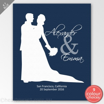 Wedding Couple Silhouette Personalised Canvas Art - Blue