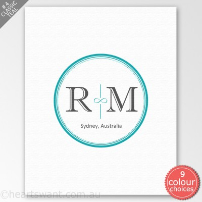 Infinity Couple Monogram Personalised Canvas Art - Classic Teal