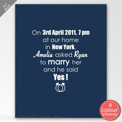 Classic Wedding Proposal Personalised Canvas Art - Blue