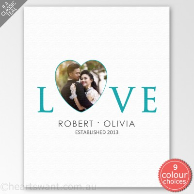 Love Heart Photo Canvas Art - Classic Teal