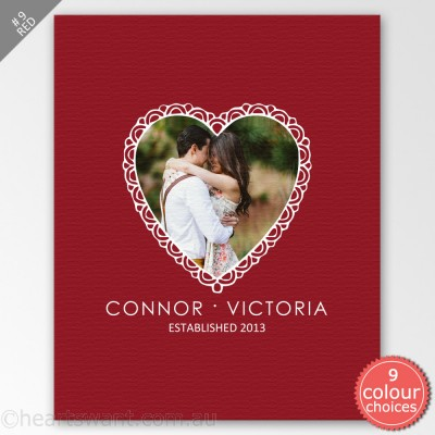Classic Heart Photo Canvas Art - Red