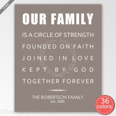 Our Family Personalised Canvas Art