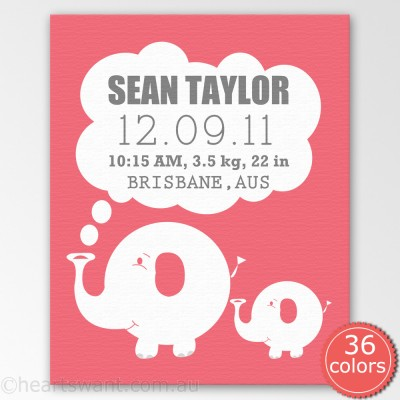 baby announcement ele personalised canvas