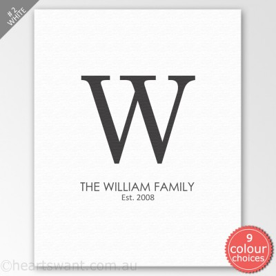 Family Monogram Personalised Canvas Art - White