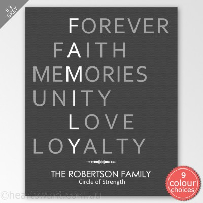Family Acronym Personalised Canvas Art - Grey