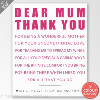 Dear Mother Personalised Canvas Art - Classic Rose