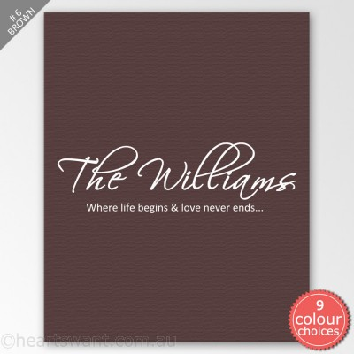 Family Name Classic Personalised Canvas Art - Brown