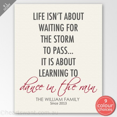 Dance In The Rain Personalised Canvas Art - Ivory