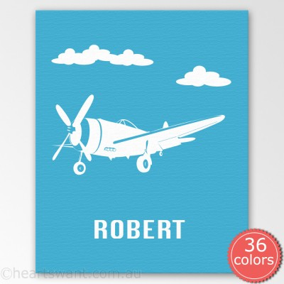 retro plane personalised canvas