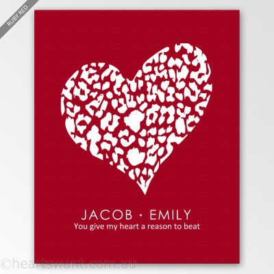 personalised tender heart canvas