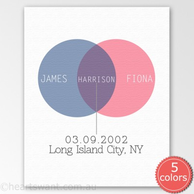 venn baby personalised canvas