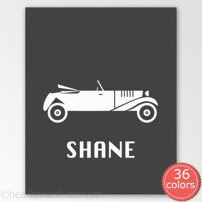 vintage car personalised canvas