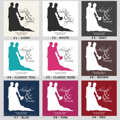 Wedding Couple Silhouette Personalised Cushion Cover