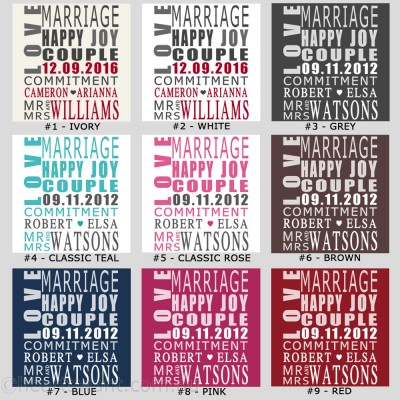 Wedding Typography Personalised Canvas Art