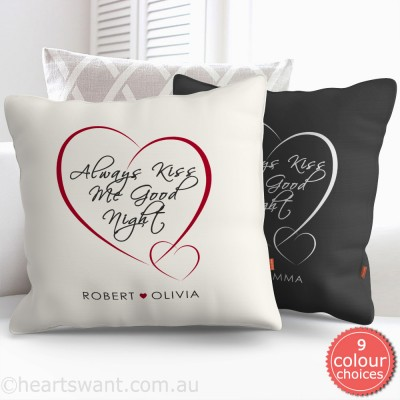 Always Kiss Me Goodnight Personalised Cushion Cover