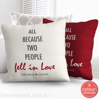 Fell In Love Personalised Cushion Cover