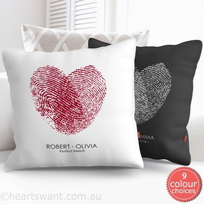 Fingerprint Heart Personalised Cushion Cover