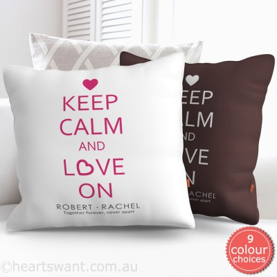 Keep Calm And Love On Personalised Cushion Cover