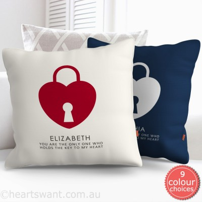 Key To My Heart Personalised Cushion Cover