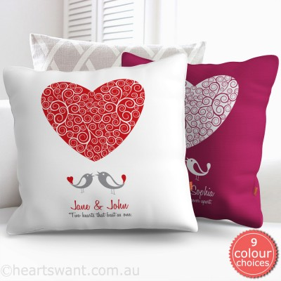 Love Birds Love Heart Personalised Cushion Cover