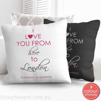 I Love You From Here Personalised Cushion Cover