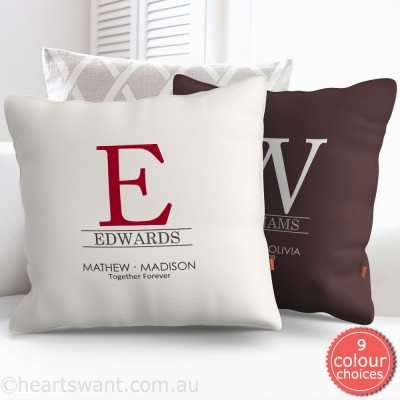 Classic Couple Monogram Personalised Cushion Cover