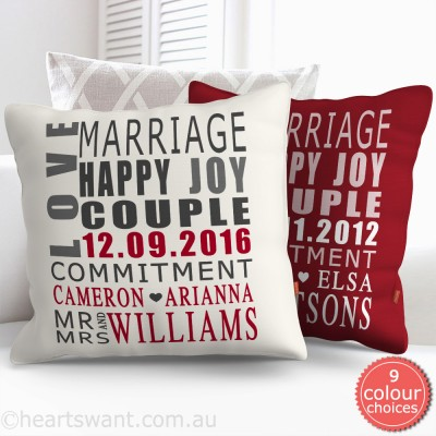 Wedding Typography Personalised Cushion Cover