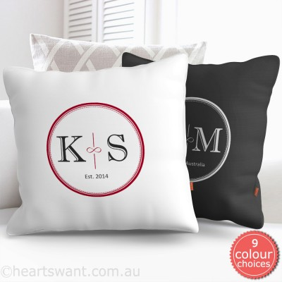 Infinity Couple Monogram Personalised Cushion Cover