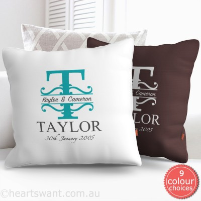Decorative Couple Monogram Personalised Cushion Cover