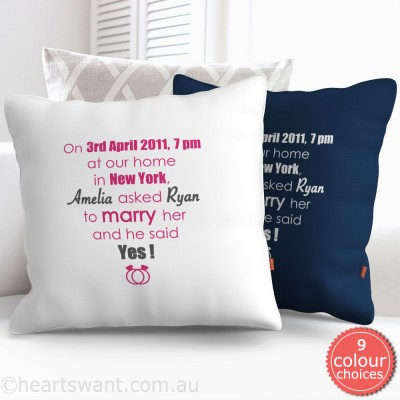 Classic Wedding Proposal Personalised Cushion Cover