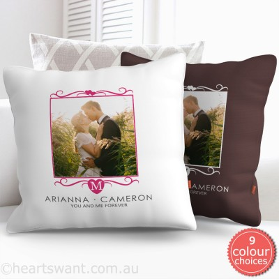 Heart Monogram Photo Cushion Cover