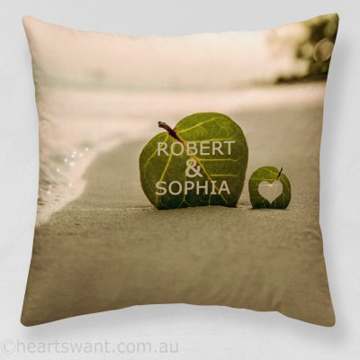 Beach Leaf Heart Personalised Cushion Cover