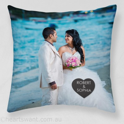 Couple Names Photo Cushion Cover