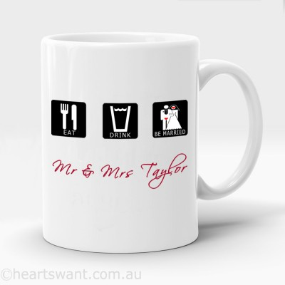 eat drink be married personalised mug