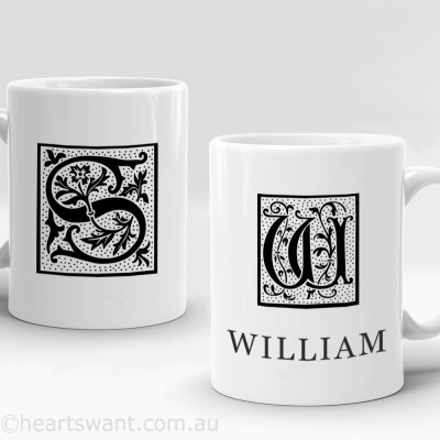initials art personalised mug