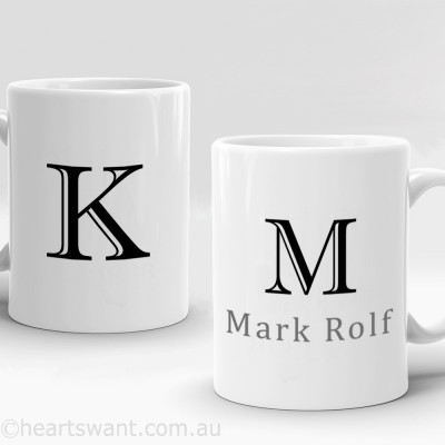 name and initials personalised mug