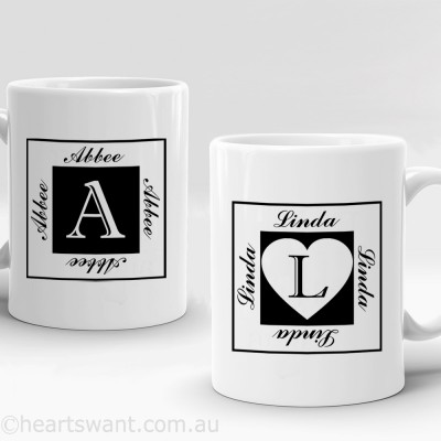 square initials personalised mug