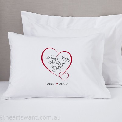 Always Kiss Me Goodnight Personalised Pillowcase