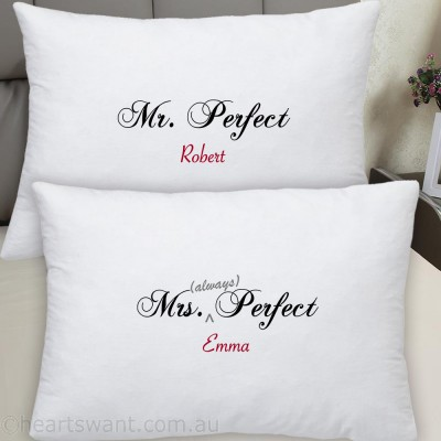 Mr and Mrs Perfect Personalised Pillowcase