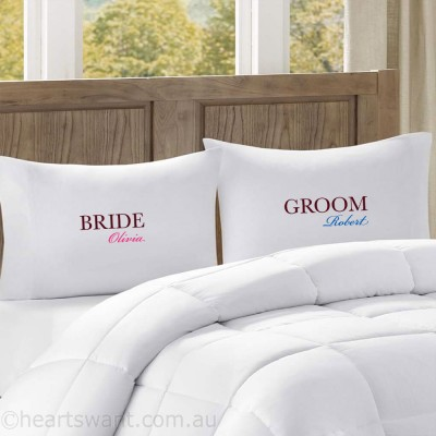 Bride & Groom Classic Personalised Pillowcases