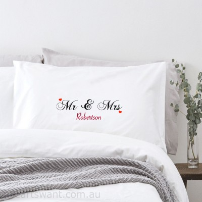 Mr and Mrs Classic Personalised Pillowcase