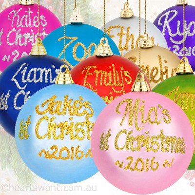 1st Christmas Personalised Baubles